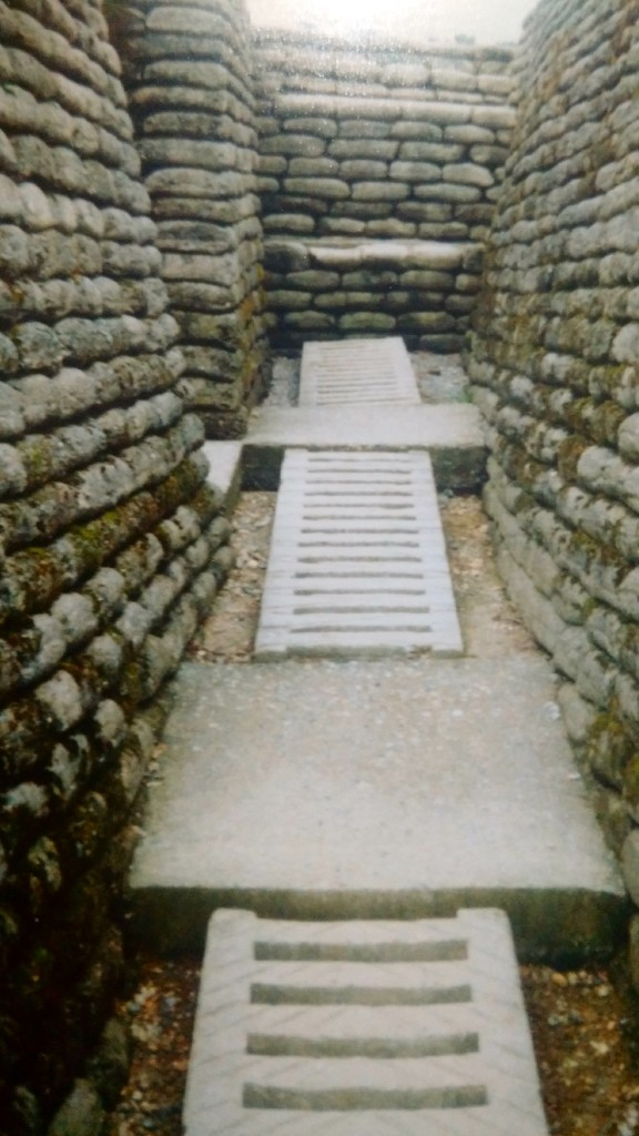 Inside one of the trenches at Vimy Ridge in 1998.