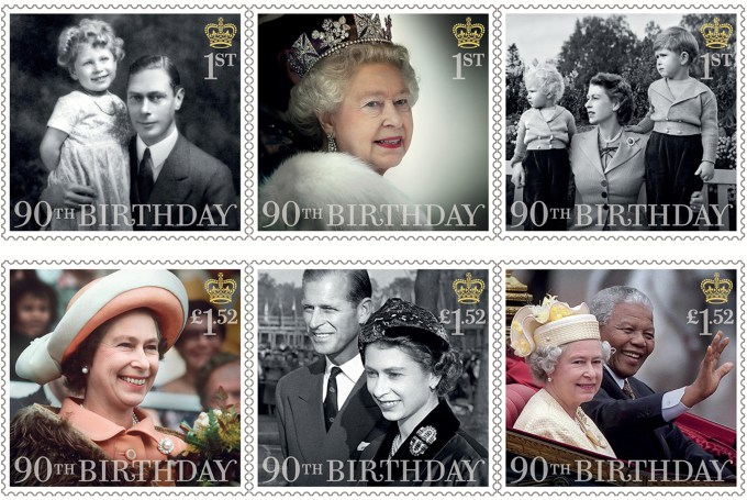 Postage Stamps released by the Royal Mail in honour of Queen Elizabeth II's 90th Birthday.