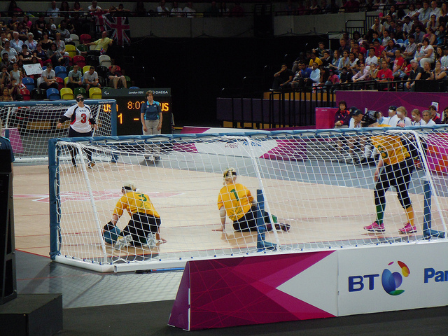 Goalball at the London Paralympic games. Photo Courtesy of Flickr user Kevan